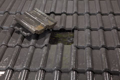 Roof needs urgent repairing Stock Images