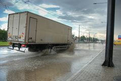 Big rain in Lublin, Poland - July 5, 2013 Royalty Free Stock Image