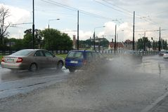 Big rain in Lublin, Poland - July 5, 2013 Royalty Free Stock Photography