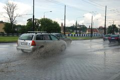 Big rain in Lublin, Poland - July 5, 2013 Royalty Free Stock Photos