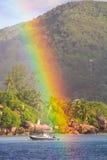Big Rainbow over tropical island and luxurious Royalty Free Stock Photos