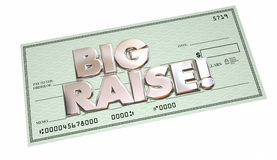 Big Raise More Income Earning Money Words Check. 3d Illustration Stock Photography