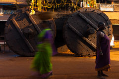 Big Ratha Chariot Wheels Women Gokarna Stock Images