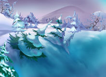 Big Ravine with Snow and Spruces in a Frosty Winter Day. Handmade illustration in a classic cartoon style Stock Photography