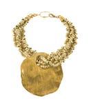 Big raw gold pendant necklace Stock Image