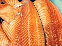 Big Raw Natural fresh salmon for sale in the market stock photo