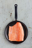 Big Raw Salmon Steak In Frying Pan On Rustic Table Stock Images