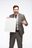 Big reaction of an elegant man on framed board Royalty Free Stock Photo