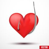 Big realistic heart hung by fishhook Royalty Free Stock Photos