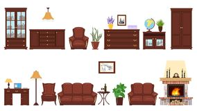 Big realistic Set of home furniture elements for cabinet, library, parlour. Stock Photography