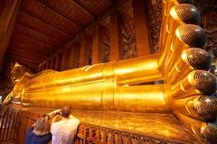 Big Reclining golden Buddha statue Stock Image