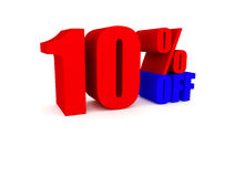 Big red 10% price off discount. Big red 10% Off promotional sign Stock Photography