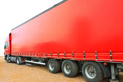 Big red. Truck on the road stock photos