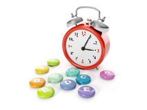 A big red alarm clock Stock Photography