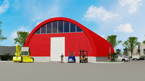 Big red hangar Stock Photo