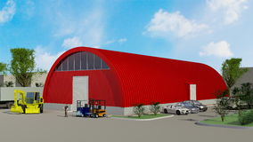 Big red hangar Royalty Free Stock Photo