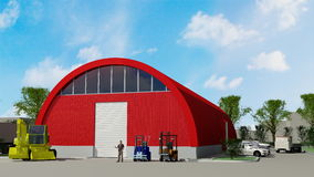 Big red hangar Royalty Free Stock Images