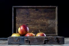 Big red apples in a dark wooden box. Wooden crate and apples on. A wooden table in the kitchen. Black background Stock Images