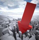 Big red arrow. Huge 3d arrow breaking ground Stock Images