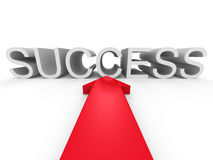 Big Red Arrow Pointing To SUCCESS Word Royalty Free Stock Photos