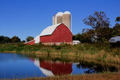 Big red barn Stock Image