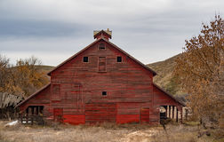Big Red Barn with a Look Out on the Cupola Stock Photo