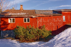 Big red barn with wooden wall decor Royalty Free Stock Photography