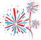 Firework on white. Big red and blue fireworks on white background Royalty Free Stock Photos
