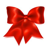 Big red bow. Beautiful big bow made of red ribbon with shadow Royalty Free Stock Photography