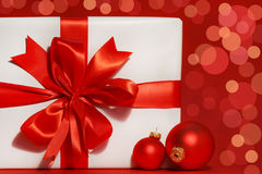 Big red bow on gift Royalty Free Stock Photography