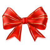 Big red bow with golden strips Stock Image