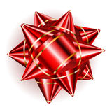 Big red bow with golden strips Royalty Free Stock Photo