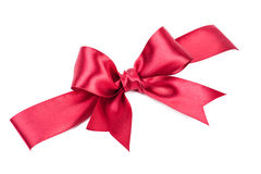 Big red bow made from ribbon. Big red bow made from silk ribbon Royalty Free Stock Photos
