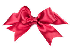 Big red bow made from ribbon Royalty Free Stock Photos