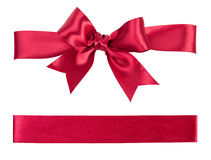 Big red bow made from silk. Ribbon Stock Photo