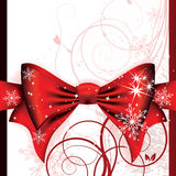 Big red bow on a magical Christmas letter Stock Images