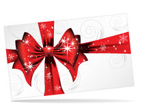 Big red bow on a magical Christmas letter. A vector illustration for your design project Stock Photos