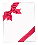 Big red bow on paper. Sheet Stock Photo
