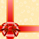 Big red bow with ribbon Royalty Free Stock Photos