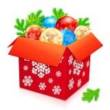 Big red box of Christmas balls Royalty Free Stock Photo