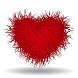 Big red bushy heart isolated on white background. This is file of EPS8 format Royalty Free Stock Photography