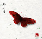 Big red butterfly hand drawn with ink on rice paper background. Traditional oriental ink painting sumi-e, u-sin, go-hua. Contains hieroglyphs - peace Stock Photography