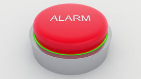 Big red button with alarm inscription being pushed. Conceptual 3D rendering Stock Image