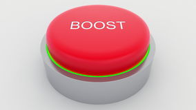Big red button with boost inscription being pushed. Conceptual 3D rendering Royalty Free Stock Photo