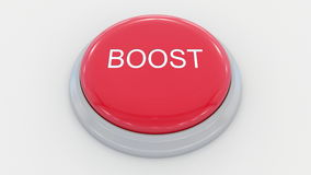 Big red button with boost inscription. Conceptual 3D rendering. Big red button with boost inscription. Conceptual 3D Royalty Free Stock Image