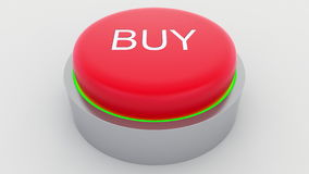 Big red button with buy inscription being pushed. Conceptual 3D rendering Stock Images