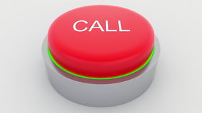Big red button with call inscription being pushed. Conceptual 3D rendering Royalty Free Stock Image