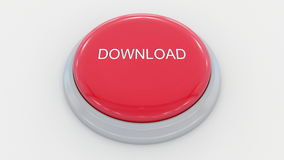 Big red button with download inscription. Conceptual 3D rendering Royalty Free Stock Image