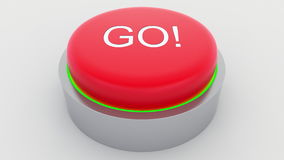 Big red button with go inscription being pushed. Conceptual 3D rendering Royalty Free Stock Photography