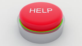 Big red button with help inscription being pushed. Conceptual 3D rendering Royalty Free Stock Photo